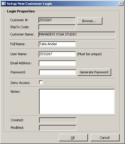 Setup New Customer Login